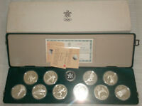 1988 Silver Olympic Set - 10 silver coins in a green case