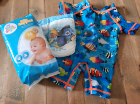 3-6 months swimsuit swimming costume and swim nappies