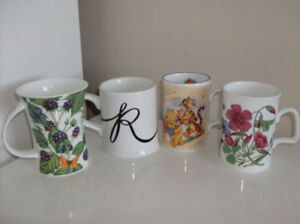 4 NEW Mugs (makes great gifts) + Corelle Plates + Juice Pitchers