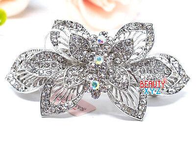 Bridal Wedding Silver Crystal Rhinestone Big flowers hair barrette hair clip