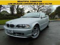 SUPERB MANUAL 2002 BMW 320 2.2 CI CONVERTIBLE VERY WELL PRESENTED NEW MOT
