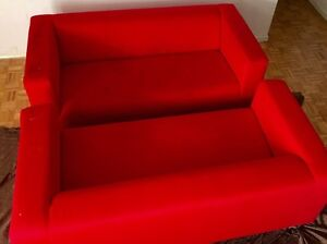 3seater fabric red sofa armchair2-sets $265 best offer