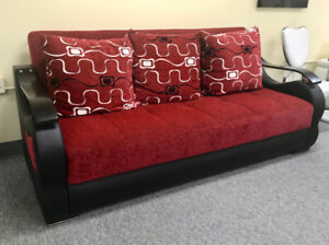 Red Sofa Bed with Storage