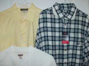 Large - 3 NEW Mens Shirts - Chaps, Denver Hayes & T-Shirt