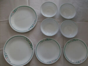 NEW 14 Corelle Dishes - Plates + Bowls & New Frying Pan