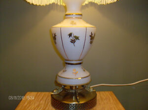 Vintage Lamp, White with Gold Embossed Flowers, Brass Base Stratford Kitchener Area image 2