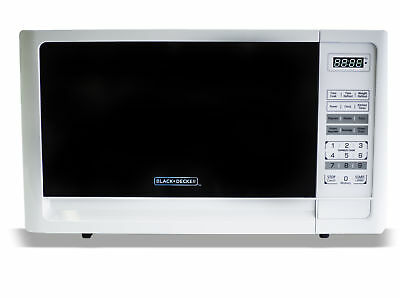 Black & Decker 900W Countertop Microwave Oven w/ 0.9 Cu.Ft. & LED Display, White