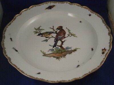 Antique 18thC Meissen Porcelain Bird Scene Plate Charger Porzellan Teller Scenic