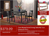 ◆Floor Model 5pcs Wooden Square Dining Table Set@NewDirection!