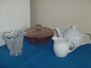 Kig Indonedian Glass + Teapot and Creamer + New 5 Pc Pot Set