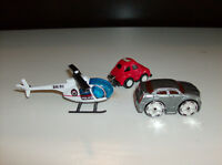 3 Toy Vehicles - Police Helicopter, Chrysler Car and Bug Mug Car
