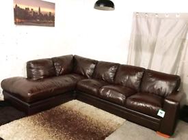 •• Dark brown real leather corner sofa