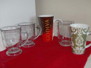 5 NEW Tall Mugs Coffee or Tea - Godiva, 2 Starbucks, Forum