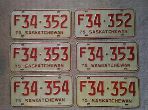 Vintage Saskatchewan Licence Plates