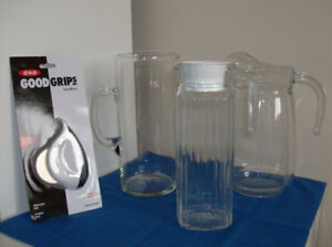 3 New Glass Juice Pitchers, Tea For Two, New 5 Pc Pot Set etc.
