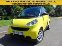 SUPERB LOW MILEAGE 2007 SMART FORTWO 1.0 PASSION £30 A YEAR TAX SUPERB VALUE