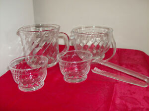 5 Piece Glass ice Bucket Set for Two - Great Gift Idea !!