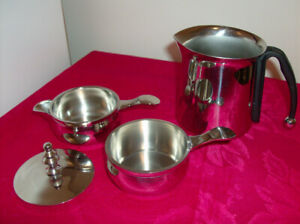 4 Pc. Stainless Stackable Creamer/Sugar + 5 Pc Ice Bucket Set