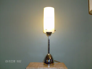 Weighted Chrome Table Lamp with White Opal Glass