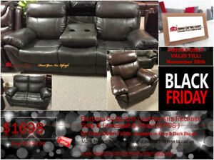 LOWER THAN EVER! BRAND NEW LEATHER AIR RECLINER SOFA+LOVE+CHAIR!