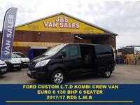 2017 17 FORD TRANSIT CUSTOM 310 LIMITED L.W.B KOMBI CREVAN 2017/17 REG NEW