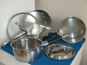 3 Stainless Steel Pots and 4 Pc. Stainless  Set