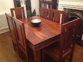 Dining Table + 6 Chairs solid wood, mango