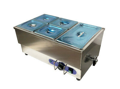 5-pot Bain Marie Food Warmer Stainless Steel 1500w Steam Table