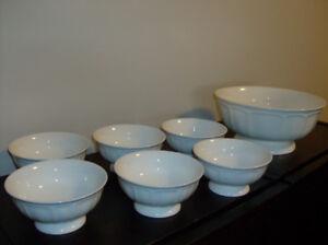 New 7 Pc White Bowl Set, Teapot, New Tea or Coffee Mugs