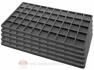 5 Gray Insert Tray Liners W/ 50 Compartments Drawer Organizer Jewelry Displays
