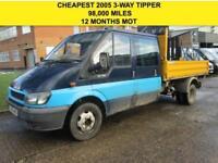 2005 55 FORD TRANSIT 2.4TDCI T350L DOUBLE CAB 3 WAY TIPPER. FULL MOT. 98K DIESEL