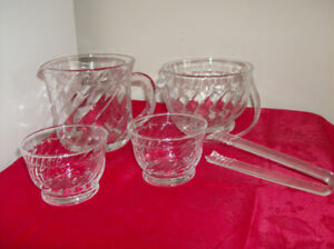 New 5 Pc Glass Ice Bucket Set & New White Corelle Plates