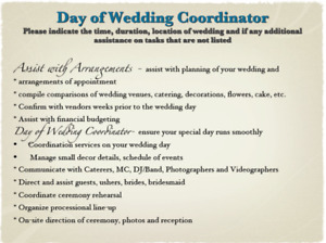 Wedding day coordinator find or advertise wedding services in post your classified or want ad in calgary wedding its fast and easy junglespirit Choice Image