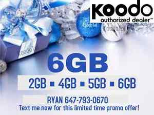 ✨ Koodo 6GB LTE $65/month ✨ UNLIMITED CANADA 2/4/5/6 GB Plan ✨