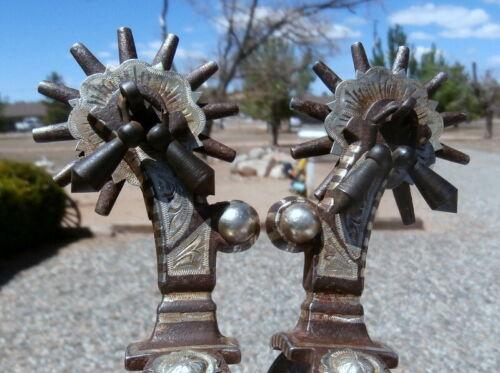 Silver Concho Iron Buckaroo Cowboy Horse Jingle Bob Spurs 2 in. Rowels