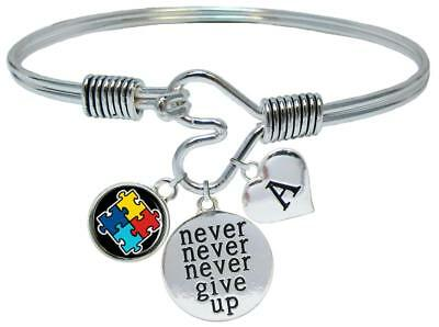 Custom Autism Awareness Ribbon Never Give Up Bracelet Choose Initial Family