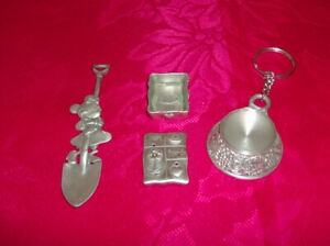 4 NEW Collector's Pewter Pieces + 4 New Collector's Mugs