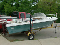 Sears Runabout boat motor and trailer
