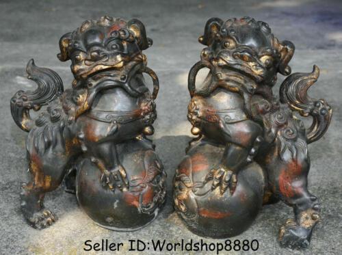 "12.4"" Old China Purple Bronze Gilt Fengshui Foo Fu Dog Guardion Lion Pair Statue"