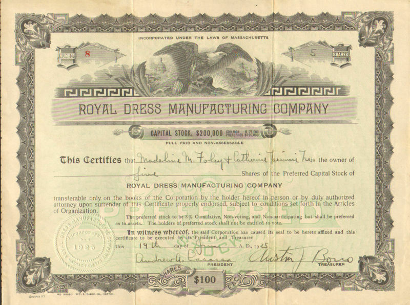 Royal Dress Manufacturing  > 1925 Massachusetts old stock certificate