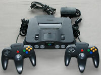 Nintendo 64, 2 Black Controllers, Power & RF Adapter