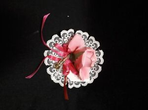 Pink Artificial Flower with Gold Tone Violin