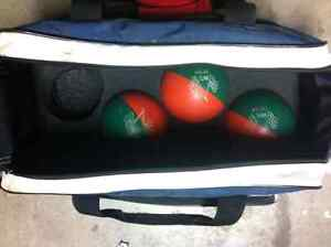 Bowling bag with balls and shoes
