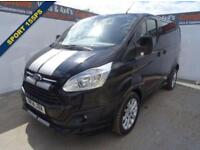 2014 14 FORD TRANSIT CUSTOM 2.2 290 SPORT LR P/V 1D 153 BHP BLACK METALLIC TWIN