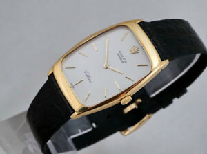 ROLEX CELLINI 18K GOLD REF. 4136 CUSHION-SHAPE ULTRA-FLAT MANUAL
