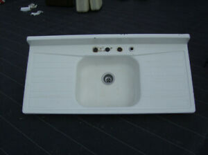 OLD  FARMHOUSE  DOUBLE  APRON  SINK and SAMSONITE LUGGAGE