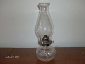 Vintage & Antique Diamond Etched Oil Lamp