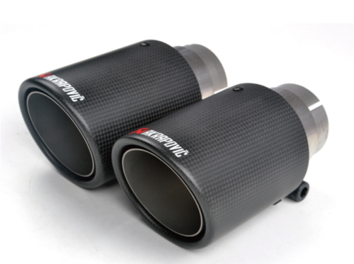89MM Akrapovic Glossy Carbon Fiber Exhaust Tip Blue End Pipe 1 X IN:63MM OUT