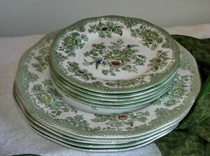 10 antique wedgwood kent turnstall green flowers bird plates