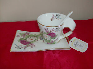 NEW Cup, Tray & Spoon - Fine Porcelain by Adeline